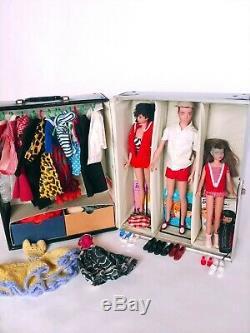 1960s Barbie Ken Skipper black gloss doll case with clothes & 3 Dolls Vintage