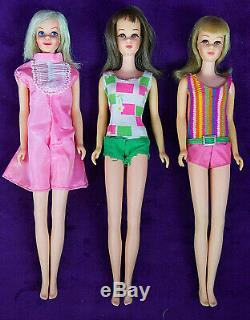 3 Vtg BL Brunette TNT Blonde Francie Casey Barbie MOD Lot Org. S/S NICE BIN