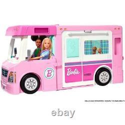 Barbie 3-In-1 Dreamcamper Vehicle Pool Truck Boat 50 Accessories Kids Girls New