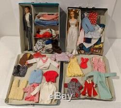 Big Vintage 1960's Barbie & Ken Doll & Accessories Lot 1962 Cases Clothes Shoes