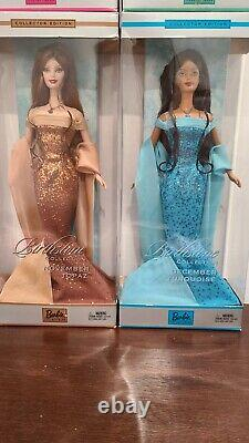 GLAMOROUS! BIRTHSTONE BARBIE COLLECTION Dolls. Lot of 12