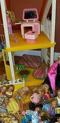HUGE BARBIE LOT Vintage 1970s Barbie Doll A-Frame Dream House, Furniture, Pool