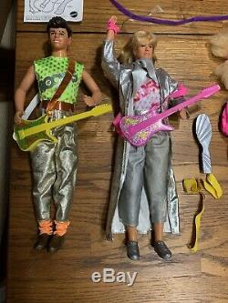 HUGE Lot 80s Barbie And the Rockers 6 Original Dolls Stage/Cafe Dress Up Clothes