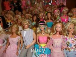 HUGE VTG 70s 80s & 90s DRESSED BARBIE KEN DOLL LOT OF 50 With DOLL HOUSE FURNITURE