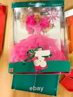 Happy Holidays Barbie Doll Lot FULL 1989-2000 (some damaged, see description)