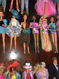 Huge 80s 90s Vintage Barbie Doll Mixed Lot Totally Hair Rockers Steffie Face