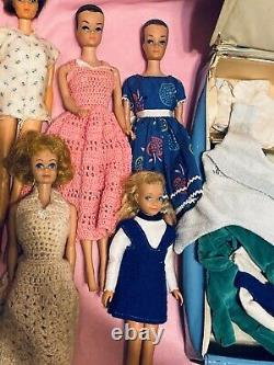 Huge Lot Of Vintage 1960s Barbies, Clothes And Case