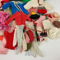 Large Lot of 60s Barbie Branded Clothes Doll Outfits with Carrying Case And More