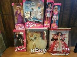 Lot Of 7 Vintage 90's Barbies Dentist Barbie, Happy Holidays, Flower Fun, Army