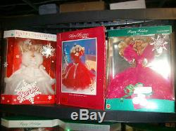 Lot of 1988 1998 Happy Holiday Barbies Complete Set SALE FREE SHIPPING