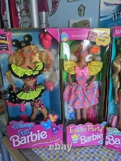 Lot of 7 Vintage 90s Barbie Dolls Mattel