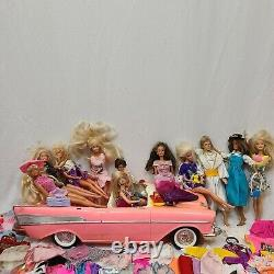 Lot of Vintage Barbie Dolls with Clothes / Clothing and car