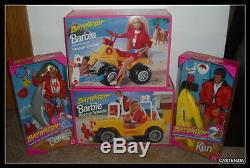 MATTEL LOT Baywatch Barbie and Ken RESCUE CRUISER AND WHEELS NRFB GREAT SET