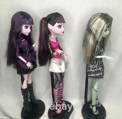 Monster High Doll 18 Lot Frankie Draculaura Elissabat Frightfully Tall Ghouls