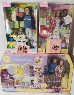 RARE Lot NEW Happy Family Mattel Barbie Alan, Midge & Sons +Grandparents kitchen