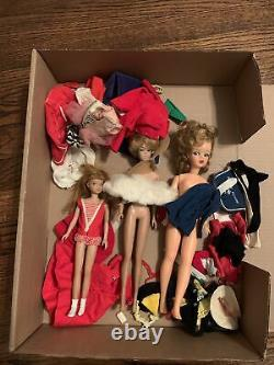 Skipper, Midge, Barbie lot with clothes Original Vintage