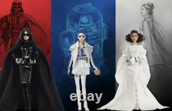 Star Wars X Barbie Doll Lot Princess Leia Darth Vader R2D2 BNIB Still In Shipper