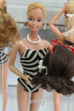 Superstar Barbie Doll Lot of 5 & vintage zebrastripe Swimsuit 80er