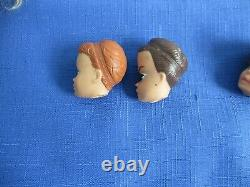 Vintage 1960's Barbie Midge Doll Head Wig Stands Face Molds Lot of 7 Hair