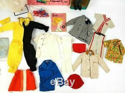 Vintage 1960's Blonde Ponytail Barbie with Vintage Ken & Clothing Lot with Cut Outs