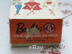 Vintage 1962 Blonde Swirl Ponytail Barbie Doll Stand Booklet Mint in Orgnl Box