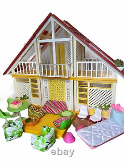 Vintage 1978 Mattel Barbie Dream House A Frame Yellow 1970's with Furniture Patio