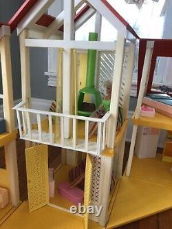 Vintage 70s A Frame Mattel Barbie Dream House FURNISHED, Rare Patio & Fireplace