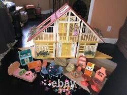 Vintage 70s Barbie Dream House Complete withLots Of Original Furniture Included