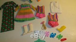 Vintage BARBIE FRANCIE LOT #3443 SATIN SUPPER 2 DOLLS CLOTHES AND SHOES CLEAN