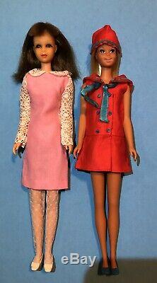 Vintage Barbie 1965 Francie Dolls, Case, Clothes, Shoes, Bend Leg, TNT Lot HTF