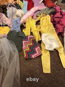 Vintage Barbie Bubble Cut Doll Big Case Clothes Lot