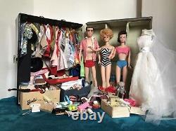 Vintage Barbie & Ken Huge 1960s Lot Case, Clothing, Accessories, Poodle GUC