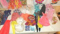 Vintage Barbie Mod Lot Case 5 Dolls Clothes Hats Shoes Played With Lot Clean