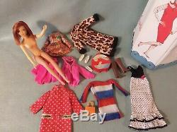 Vintage Francie Barbie Doll TNT Red Hair Casey with Clothes Shoes Case TLC