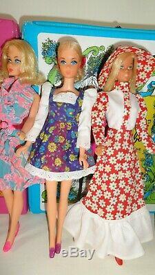 Vintage Mod Era Barbie Doll Lot Cases Clothes 7 Dolls Some TLC Clean No Work
