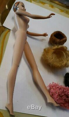 Vintage Sleep Eye Barbie Doll W Head Band Bendable Legs W Wigs Stand Hat Cap Lot