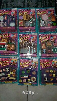 Vintage Tyco Kitchen Littles Food Packs Fun Settings Lot Of 9 Sealed. Very Rare