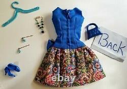 Vintage style Barbie Bow Time set Best Bow Dress Blue withmulti-floral skirt