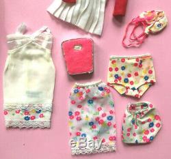 Vtg Francie Flip Curl Doll & Clothing Lot Mod Cousin Barbie Twiggy Gear